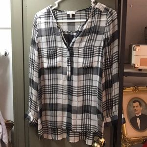 Joie Black and White Paid Silk Blouse